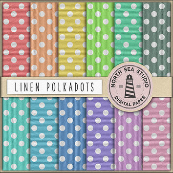 Linen Polkadots Digital Paper Canvas Paper Polka Dot Pattern Burlap Texture Background Pastel Canvas Turquoise Pink Blue Yellow Print 12x12