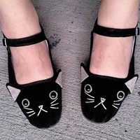 Cat Shoes - Embroidered Kitty Flats Mary Janes- Ladies Size 8