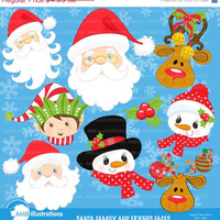 80% OFF Christmas faces clipart, Christmas Santa clipart, Christmas elf clipart, commercial use, snowman clipart, instant download AMB-197