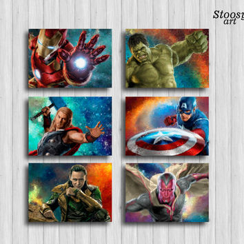 avengers print set of 6: iron man hulk thor captain america loki vision superhero