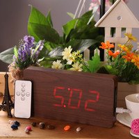 Brown Wooden Red LED Digital Alarm Clock