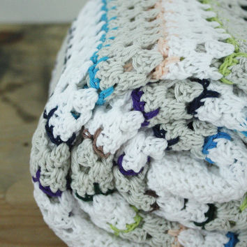 Crochet baby blanket: white, grey with blue, purple and green