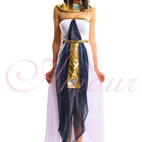 Deluxe Cleopatra Egyptian Costume Fancy Party Halloween  Dress Set