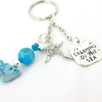 Dreaming of the Sea Starfish Keychain, Rhinestone Starfish Keyring, Beach Car Accessory