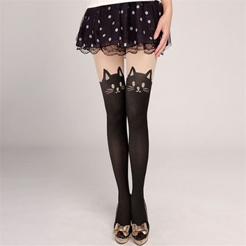 2016 Newly Styles Women Tights Harajuku Woman Pantyhose Stocking Sexy Personality Bow Heart Stitching Knee Boots Nylon Tights