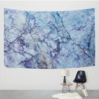 Blue Patterned Texture Rock Marble Tapestry Wall Hanging Abstract Stone Background Wall Decor Art for Living Room Bedroom Dorm