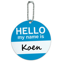 Koen Hello My Name Is Round ID Card Luggage Tag