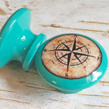 "Nautical Knobs, Aqua Blue Handmade Drawer Pulls, Antique Style Compass Cabinet Pull Handles, 1.5"" Sea Dresser Knobs, Made To Order"