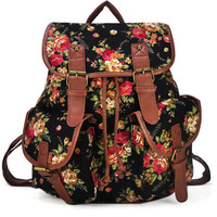 Rose Printed Drawstring Buckle Detail Backpack