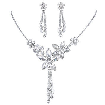 EVER FAITH Bridal Silver-Tone Hibiscus Flower Earrings Necklace Set Clear Austrian Crystal