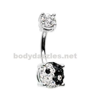 Yin Yang Sprinkle Dot Gem Prong Sparkle Belly Button Ring Surgical Stainless Steel 14ga