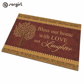 Autumn Fall welcome door mat doormat Bless Our Home With L  Front  Carpet Entrance Indoor eco-friendly natural Anti Slip Floor Mat living room Rug AT_76_7
