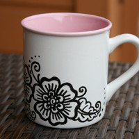 White and Pink Coffee Mug with Black Floral Henna Design