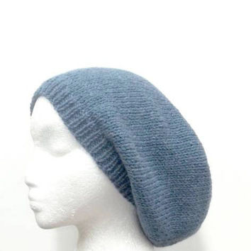 Beanie Slouch Blue Wool Oversized knitted Beret X-large   4515