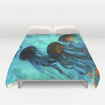 Jellyfish of the Under Sea Volcano Duvet Cover by Distortion Art