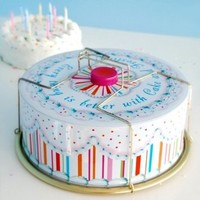 Glitterville Vintage Style Tin Birthday Cake / Carrier, Round with Handles, Multicolored