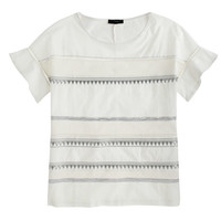 J.Crew Womens Embroidered Flutter-Sleeve Tee