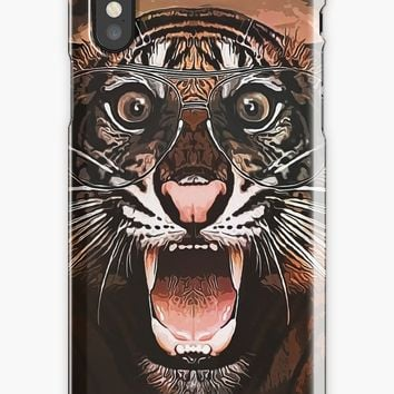 'Surprised Tiger - Caricature' iPhone Case/Skin by Naumovski