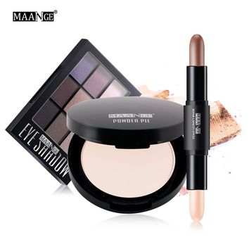 MAANGE 3Pcs Professional Face Makeup Set Powder Eyeshadow Palette highlight concealer pen with Bag Maquillage
