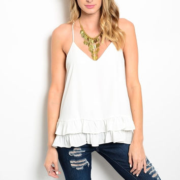 Ruffle Hem V-Neck Chiffon Top in Ivory