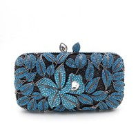 Women Royal Blue Bling Rhinestone Crystal Clutch For Bridal