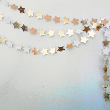 GOLD STAR GARLAND - gold star bunting, gold stars, twinkle twinkle little star, gold decorations, small star garland, metallic star garland