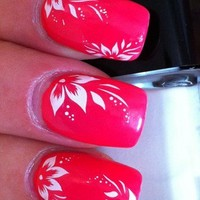 NAIL ART WRAP WATER TRANSFERS STICKERS DECALS WHITE FLORAL HIBISCUS FLOWER #145