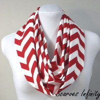 Lipstick Red Chevron Infinity Scarf - Long Modern Zig Zag Circle Scarves - Perfect For Christmas