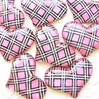 WHOLESALE Kawaii Heart Cabochons 8 Pink DecoSweets by DecoSweets