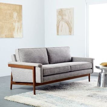 "Leon Wood Frame Leather Sofa (82"")"