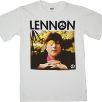 John Lennon Flower and Peace Sign Tee Shirt for sale online from Old School Tees | Find more Beatles, John Lennon and Classic Rock Tees online at OldSchoolTees.com
