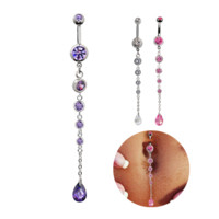 Fashion water drop zircon belly button ring antiallergic Navel Belly Ring-0427-Gifts box