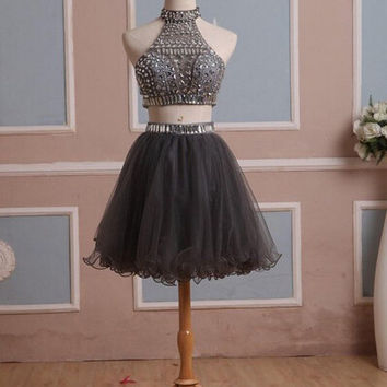Two Pieces Black Homecoming Dress Halter Style