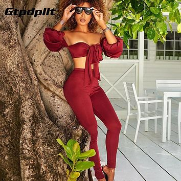 Women Jumpsuit Lantern Sleeve Strapless Bow Tie Off Shoulder Two Piece Set Women Rompers Backless Jumpsuits