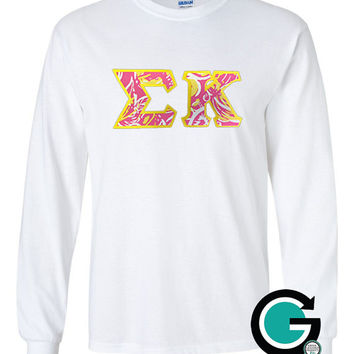 CUSTOM White Long Sleeve T-Shirt with Greek (Sorority or Fraternity) Letters