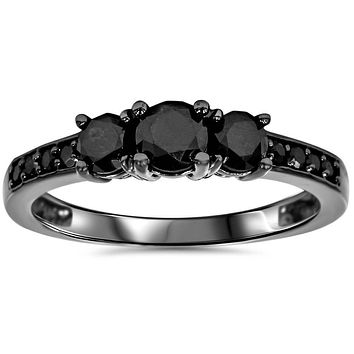 A Sophisticated 10K Black Gold Ethically Mined Fancy Black Diamond Journey Ring