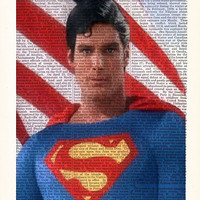 Superman Superhero Art Poster- Dictionary Print- Husband Birthday- Print On Dictionary - Home Dorm Wall Decor- Superman Poster