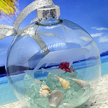 Etched Whale Ornament, Etched Glass Ornament, Beach Ornament, Beach Christmas, Nautical Christmas, Nautical Ornament, Beach Gift
