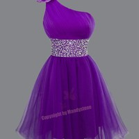 Classic Rhinestones Padded Single Shoulder Prom Dresses S M L 16