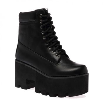 Eliza Black PU Ankle Boots