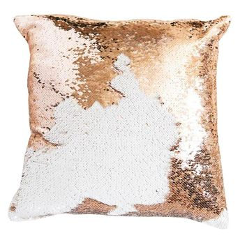 16x16 inches Mermaid Sequin Pillow with Insert-White Gold