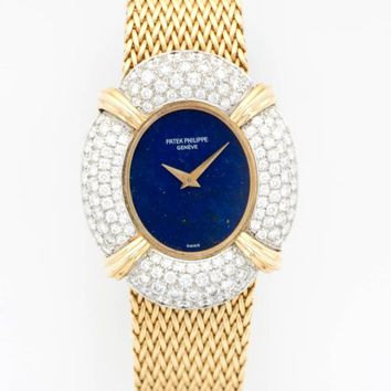 Patek Philippe Ladies Yellow Gold Diamond Lapis Lazuli Bracelet Wristwatch