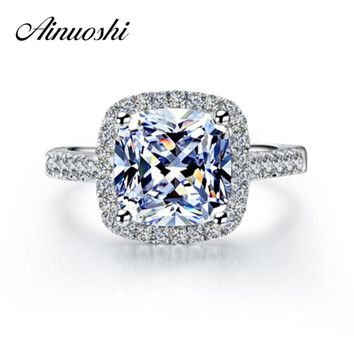 AINOUSHI Luxury 3 Carat Halo SONA Engagement Rings Princess Cut Cushion Ring 925 Sterling Silver Women Engagement Ring