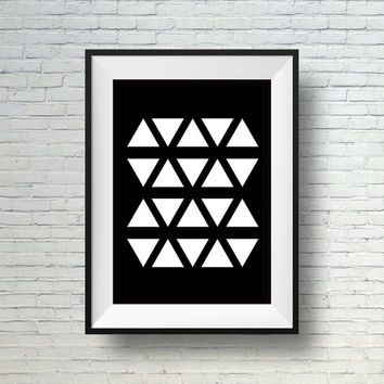 Modern print, Geometric art, Minimalist art print, Black and white wall art, Triangles art print, Abstract print
