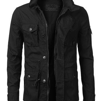 URBANCREWS Mens Hipster Hip Hop Basic Button Up Field Jacket Black, L