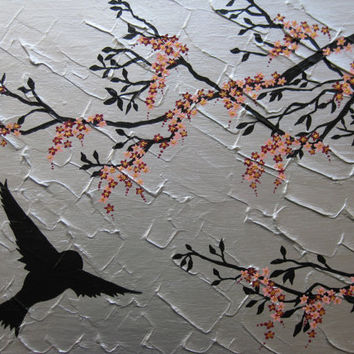 painting with birds and cherry blossom - variety of sizes and colours available- feel free to suggest other variations