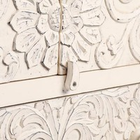 White Carved Wood Floral Armoire
