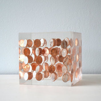 Vintage Lucite Penny Art Sculpture, Clear Resin and Copper Bookend, Large Heavy Shelf or Mantle Decor, 1978 D Pennies, Coins