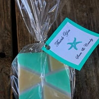 beach wedding favors, turquoise wedding favors, turquoise and gold, aqua soap favors, thank you wedding tags, wedding favours, wedding tags