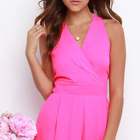 Miss Nice Girl Hot Pink Romper